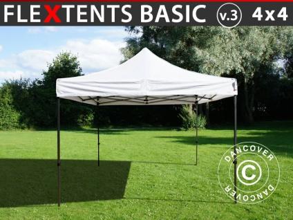 Faltzelt Faltpavillon Wasserdicht FleXtents Basic v.3, 4x4m Weiß
