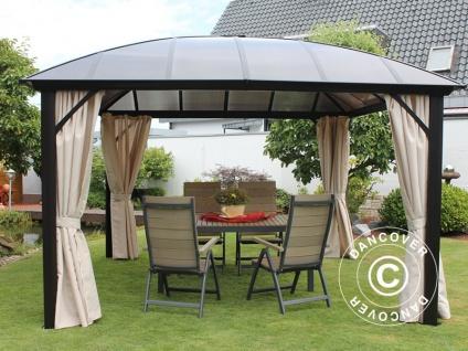 Pavillon mit kuppelförmigem Dach und Vorhängen, 3, 65x3, 65m, dunkelgrau/Beige