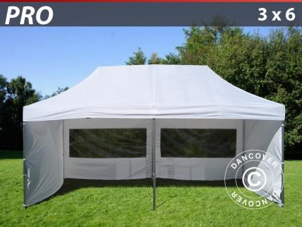 Faltzelt Faltpavillon Wasserdicht FleXtents PRO 3x6m Weiß, mit 6 Seitenwänden