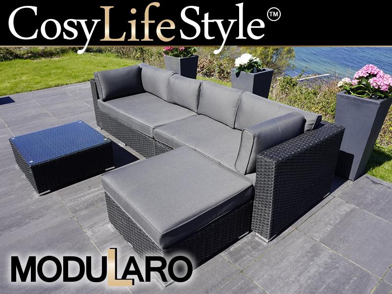 Polyrattan lounge schwarz sofa  Polyrattan Lounge-Set III, 4 Module, Modularo, schwarz - Kaufen bei ...