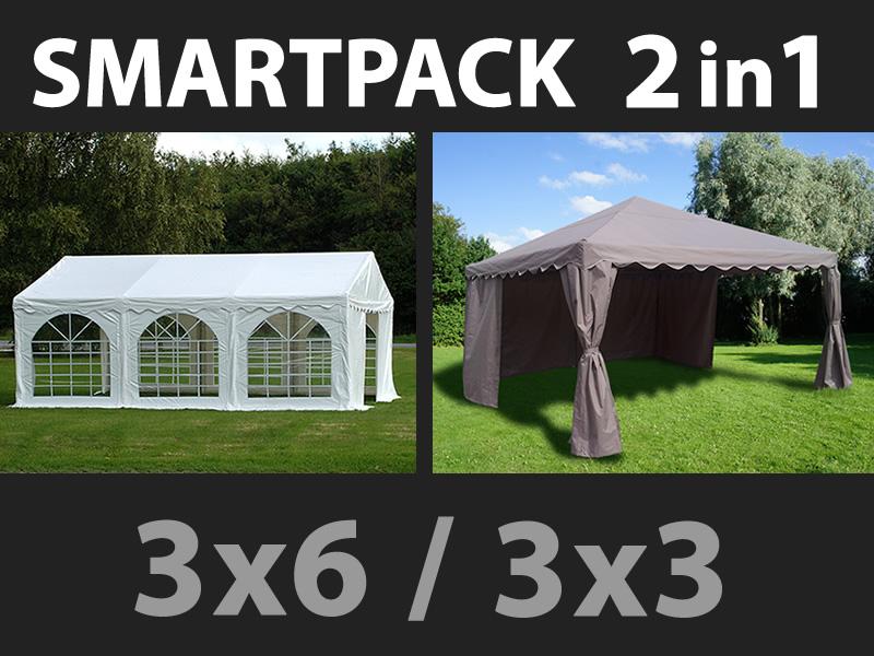 SmartPack 2-in-1-Lösung: Partyzelt festzelt Original 3x6m, weiß ...