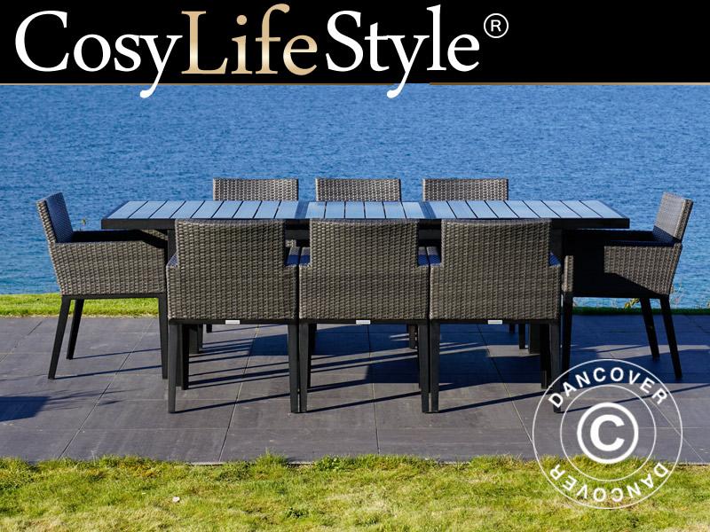 Gartenmöbel-Set Polyrattan-Gartenmöbel, Miami, 1 Tisch + 8 Stühle,  schwarz/grau