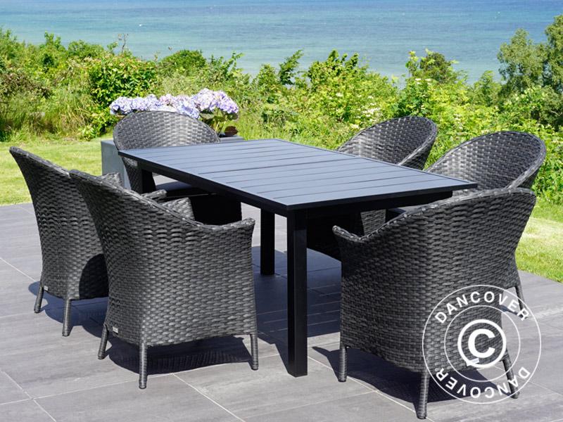 Gartenmöbel-Set Polyrattan-Gartenmöbel: Gartentisch + 6 Gartenstühlen,  Schwarz