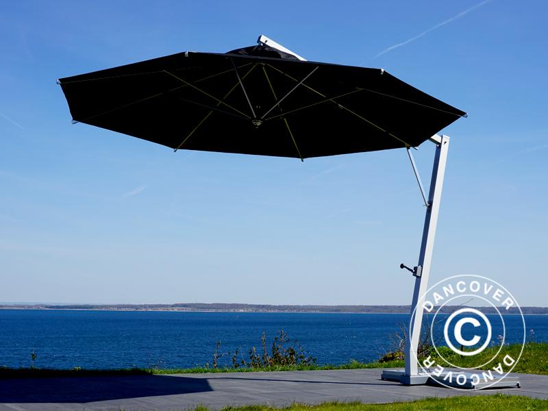 Freiarm Sonnenschirm Bahamas 4m Schwarz Mit Sonnenschirmstander