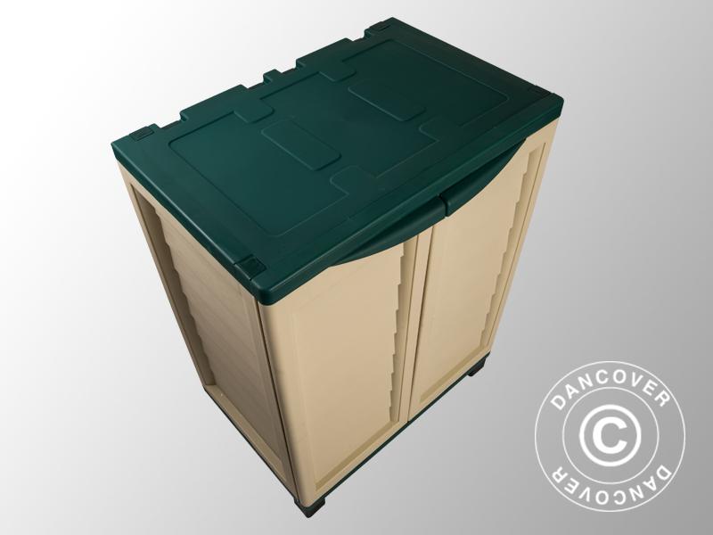 Gartenbox mit Regalen, 75x52, 5x91, 5x91, 5x91, 5cm, grün beige 6c4817