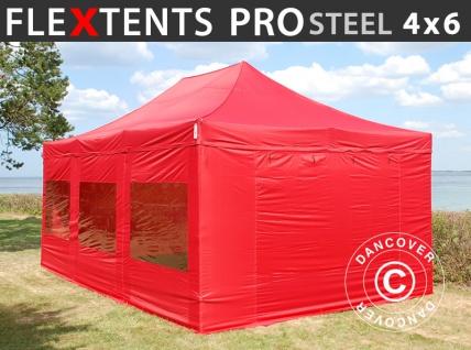 Faltzelt Faltpavillon Wasserdicht FleXtents PRO Steel 4x6m Rot, mit 8 Seitenwänden