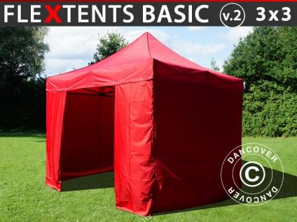 Faltzelt Faltpavillon Wasserdicht FleXtents Basic v.2, 3x3m Rot, mit 4 Seitenwänden