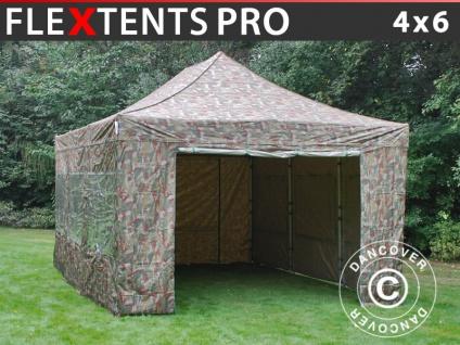 Faltzelt Faltpavillon Wasserdicht FleXtents PRO 4x6m Camouflage, mit 8 Seitenwänden
