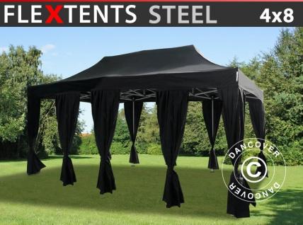 Faltzelt Faltpavillon Wasserdicht FleXtents Steel 4x8m Schwarz, mit 10 Gardinen