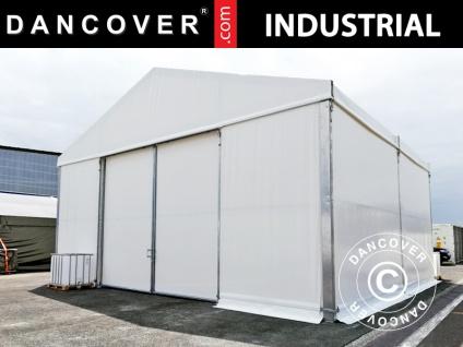 Industrielle Lagerhalle Steel 10x10x5, 8m mit Schiebetor, PVC, weiß