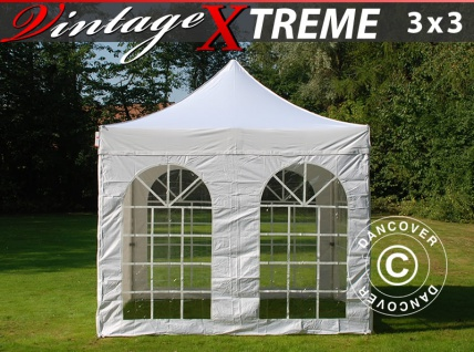 Faltzelt Faltpavillon Wasserdicht FleXtents Xtreme Vintage Style 3x3m Weiß, mit 4 wänden