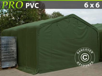 Lagerzelt Zeltgarage Garagenzelt PRO 6x6x3, 7m PVC, Grün