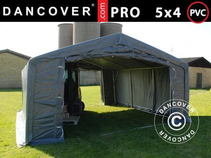 Lagerzelt Zeltgarage Garagenzelt PRO 5x4x2x3, 39m, PVC, Grau