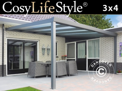 Terrassenüberdachung Expert aus Polycarbonat, 3x4m, Anthrazit