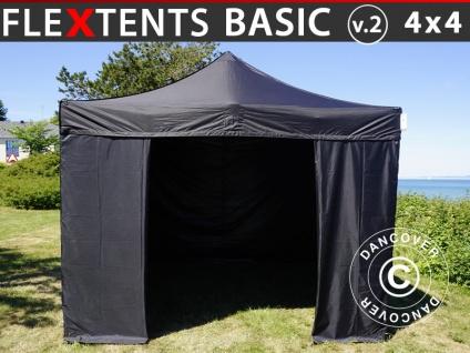 Faltzelt Faltpavillon Wasserdicht FleXtents Basic v.2, 4x4m Schwarz, mit 4 wänden