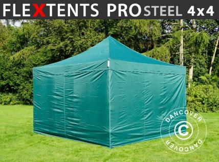 Faltzelt Faltpavillon Wasserdicht FleXtents PRO Steel 4x4m Grün, mit 4 Seitenwänden