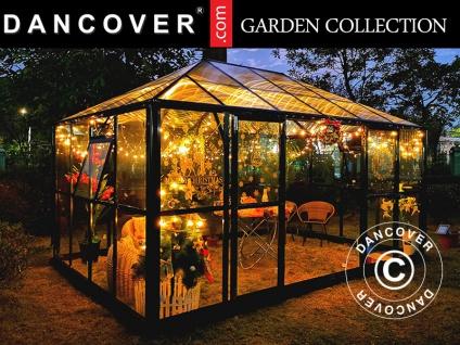 Orangerie/Pavillon Glas 12, 86m², 4, 36x2, 95x2, 7m, mit Fundament, schwarz