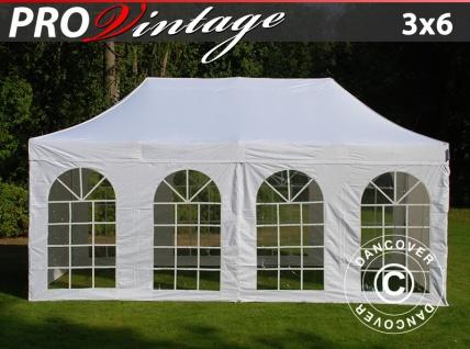 Faltzelt Faltpavillon Wasserdicht FleXtents PRO Vintage Style 3x6m Weiß, mit 6 wänden