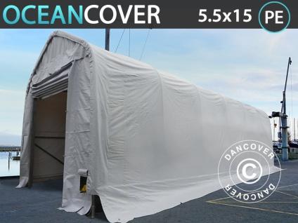 Lagerzelt Zeltgarage Garagenzelt Oceancover Bootszelt 5, 5x15x4, 1x5, 3m, PE, Weiß