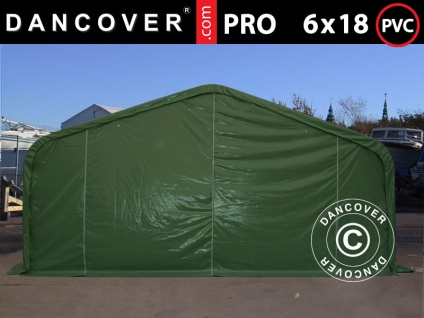 Lagerzelt Zeltgarage Garagenzelt PRO 6x18x3, 7m PVC mit Dachfenster, Grün