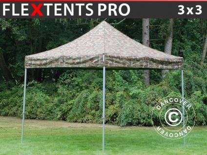 Faltzelt Faltpavillon Wasserdicht FleXtents PRO 3x3m Camouflage