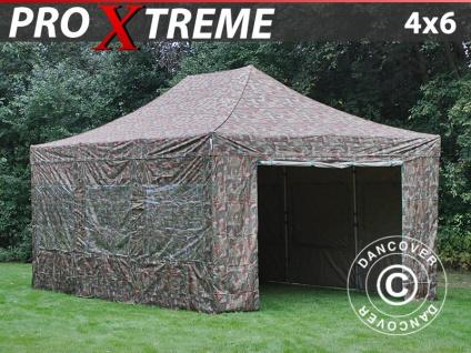Faltzelt Faltpavillon Wasserdicht FleXtents Xtreme 4x6m Camouflage, mit 8 wänden