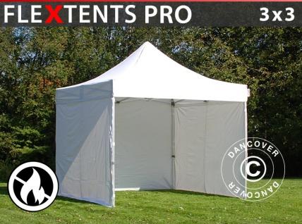 Faltzelt Faltpavillon Wasserdicht FleXtents PRO 3x3m Weiß, Flammenhemmend, mit 4 Seitenwänden