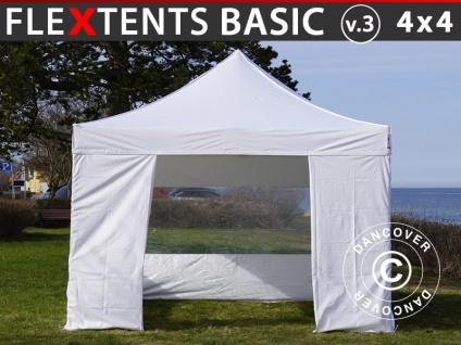 Faltzelt Faltpavillon Wasserdicht FleXtents Basic v.3, 4x4m Weiß, mit 4 Seitenwänden