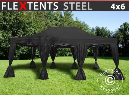 Faltzelt Faltpavillon Wasserdicht FleXtents Steel 4x6m Schwarz, mit 8 Gardinen