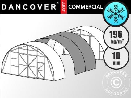 Kommerzielles Gewächshaus 10mm Polycarbonat Erweiterung, TITAN Arch 196, 15, 75m², 7, 5x2, 1m, Silber