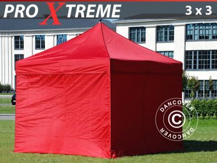 Faltzelt Faltpavillon Wasserdicht FleXtents Xtreme 3x3m Rot, mit 4 wänden