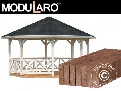 Holzpavillon mit Holzboden, 4, 65x4, 65x3, 46m, 18m², Natur