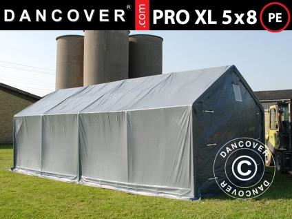 Lagerzelt Zeltgarage Garagenzelt PRO 5x8x2, 5x3, 89m, PE, Grau