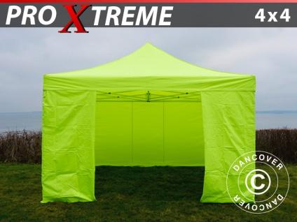 Faltzelt Faltpavillon Wasserdicht FleXtents Xtreme 4x4m Neongelb/grün, mit 4 wänden