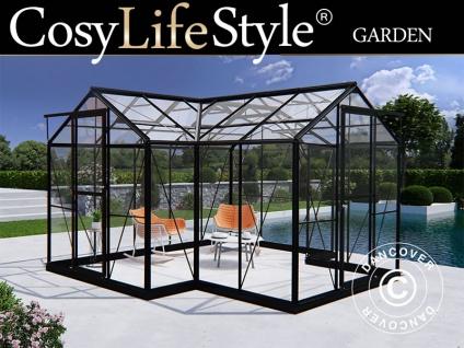 Orangerie aus Glas 11, 5m², 3, 73x3, 73x2, 32m mit Sockel, Schwarz