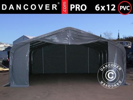 Lagerzelt Zeltgarage Garagenzelt PRO 6x12x3, 7m PVC mit Dachfenster, Grau