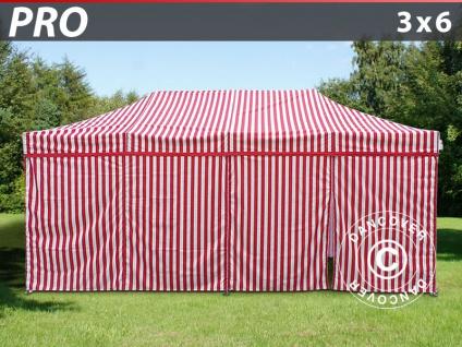 Faltzelt Faltpavillon Wasserdicht FleXtents PRO 3x6m Gestreift, mit 6 Seitenwänden