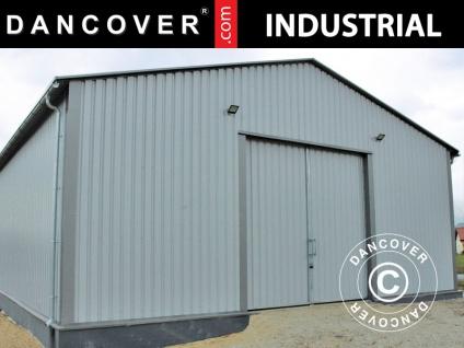 Industrielle Lagerhalle Steel 12x25x5, 06m mit Schiebetor, Metall, grau