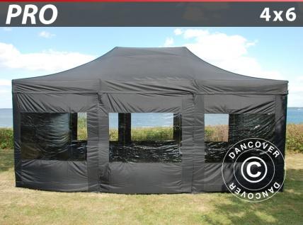Faltzelt FleXtents PRO 4x6m Schwarz, mit 8 wänden