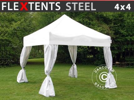 Faltzelt Faltpavillon Wasserdicht FleXtents Steel 4x4m Weiß, mit 4 Gardinen