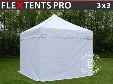 Faltzelt Faltpavillon Wasserdicht FleXtents PRO Wave 3x3m Weiß, mit 4 Seitenwänden