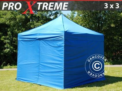 Faltzelt Faltpavillon Wasserdicht FleXtents Xtreme 3x3m Blau, inkl. 4 Wänden