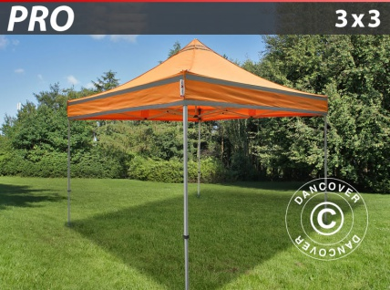 Faltzelt Faltpavillon Wasserdicht FleXtents PRO Arbeitszelt 3x3m Orange mit Reflektorbändern