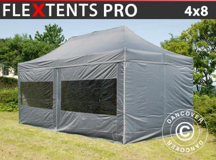 Faltzelt FleXtents PRO 4x8m Grau, mit 6 wänden