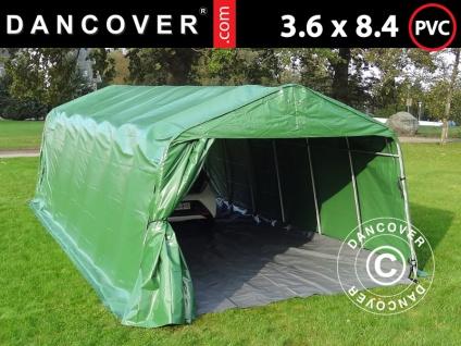 Zeltgarage Lagerzelt Garagenzelt PRO 3, 6x8, 4x2, 7m PVC mit Bodenplane Abdeckplane, grün