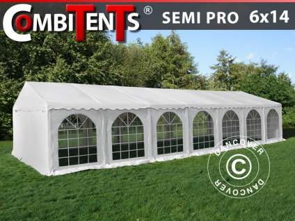 Partyzelt Festzelt, SEMI PRO Plus CombiTents® 6x14m 5-in-1, Weiß