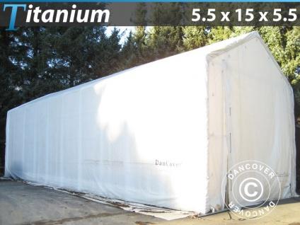 Lagerzelt Zeltgarage Garagenzelt Titanium 5, 5x15x4x5, 5m, Weiß