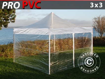 Faltzelt Faltpavillon Wasserdicht FleXtents PRO 3x3m Transparent, mit 4 Seitenwänden