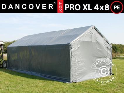 Lagerzelt Zeltgarage Garagenzelt PRO 4x8x2, 5x3, 6m, PE, Grau