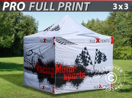 Faltzelt Faltpavillon Wasserdicht FleXtents PRO mit vollflächigem Digitaldruck, 3x3m, mit 4 Seitenwänden